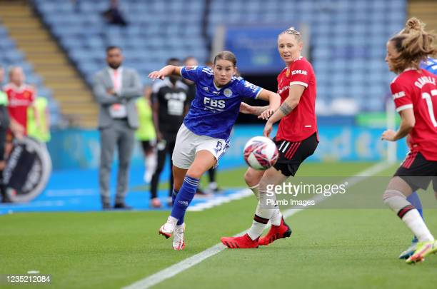 Georgia Brougham of Leicester City Women in action with Leah Galton of Manchester United Women during the Barclays FA Women's Super League match...