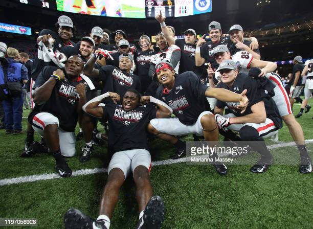Georgia Bulldogs celebrate after winning over Baylor Bears 26-14 during the Allstate Sugar Bowl at Mercedes Benz Superdome on January 01, 2020 in New...