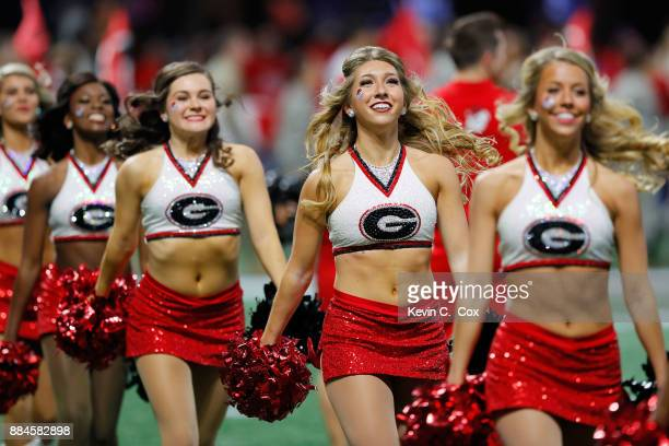 Georgia Bulldogs cheerleaders on the field prior to the game against the Auburn Tigers in the SEC Championship at MercedesBenz Stadium on December 2...