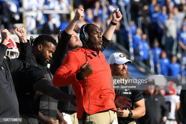 Georgia Bulldogs Defensive Coordinator Mel Tucker celebrates on the sidelines during the SEC college football game between the Georgia Bulldogs and...