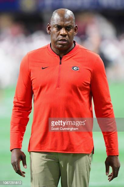 Georgia Bulldogs defensive coordinator Mel Tucker looks on before the 2018 SEC Championship Game against the Alabama Crimson Tide at MercedesBenz...