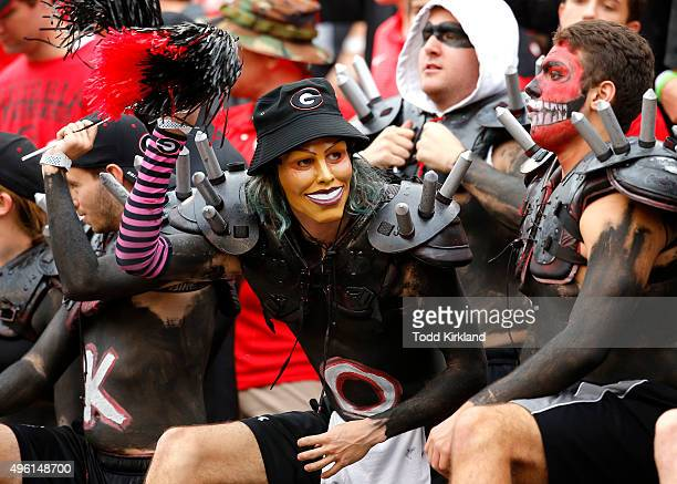 Georgia Bulldogs fans cheer on the team in the fourth quarter of the game against the Kentucky Wildcats on November 7 2015 at Sanford Stadium in...