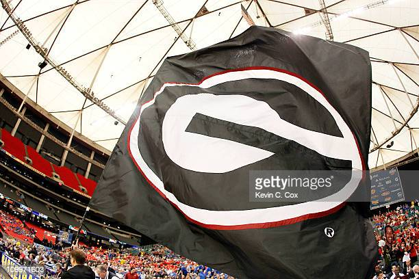 Georgia Bulldogs flag is displayed prior to their game against the Alabama Crimson Tide during the quarterfinals of the SEC Men's Basketball...