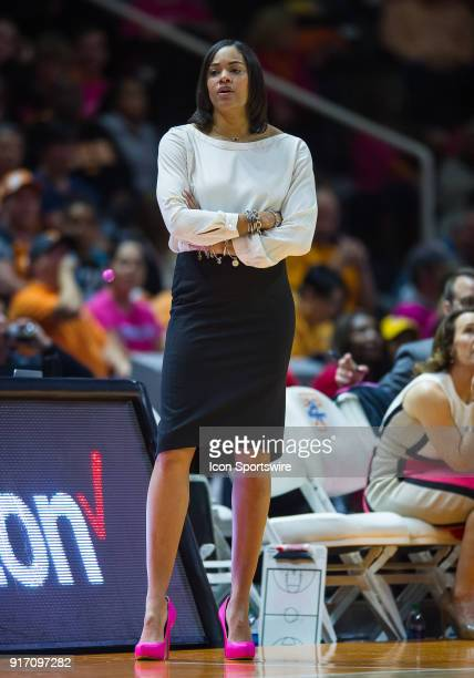 Georgia Bulldogs head coach Joni Taylor coaching during a game between the Georgia Bulldogs and Tennessee Lady Volunteers on February 11 at...