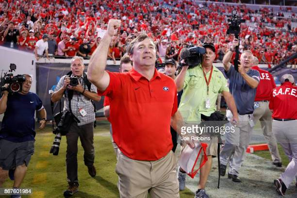 Georgia Bulldogs head coach Kirby Smart celebrates after a game against the Florida Gators at EverBank Field on October 28 2017 in Jacksonville...