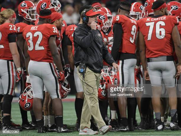Georgia Bulldogs Head Coach Kirby Smart during a timeout in the College Football Playoff National Championship Game between the Alabama Crimson Tide...