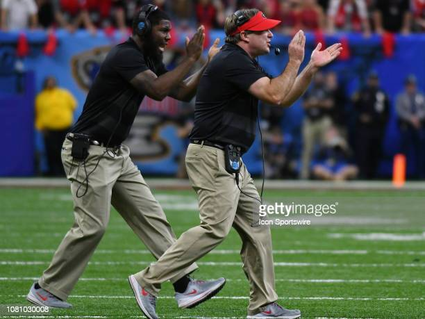Georgia Bulldogs Head Coach Kirby Smart gives encouragement during the Allstate Sugar Bowl between the Texas Longhorns and the Georgia Bulldogs on...