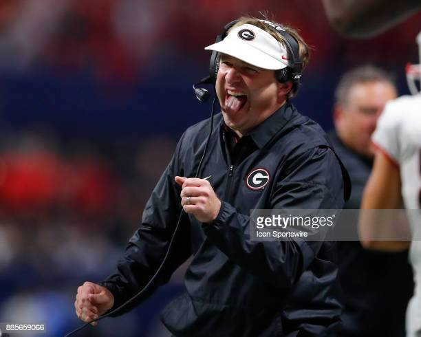 Georgia Bulldogs head coach Kirby Smart reacts after a touchdown is scored during the SEC Championship game of the Georgia Bulldogs v Auburn Tigers...