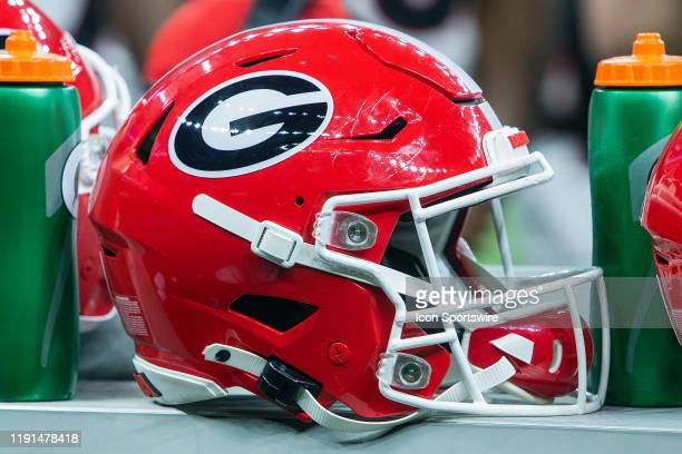 Georgia Bulldogs helmets rest on the sideline during the Sugar Bowl game between the Georgia Bulldogs and the Baylor Bears on January 01 at the...