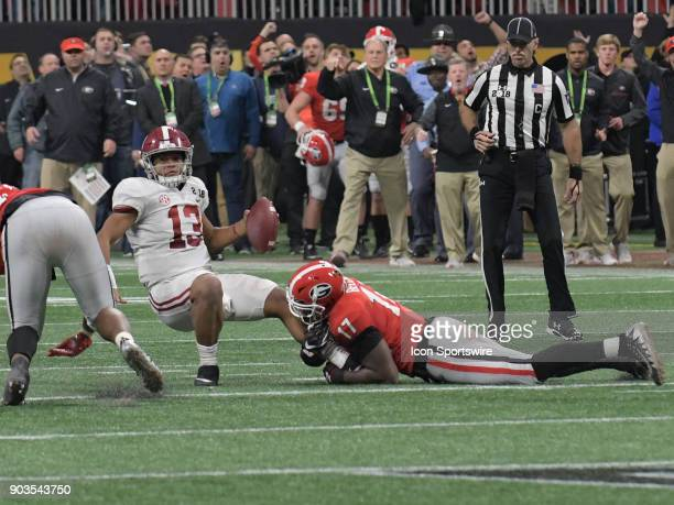 Georgia Bulldogs linebacker Davin Bellamy sacks Alabama Crimson Tide quarterback Tua Tagovailoa during the College Football Playoff National...