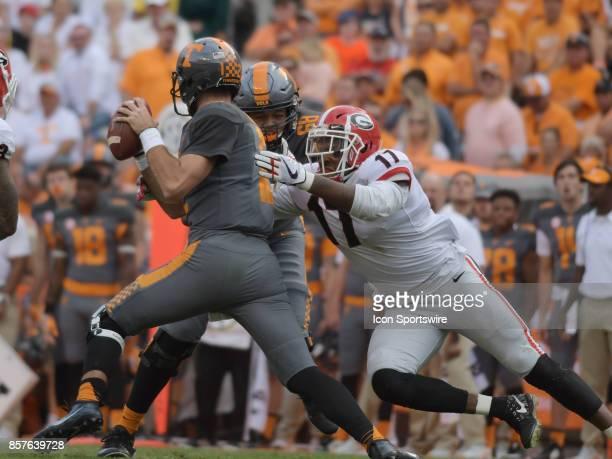 Georgia Bulldogs linebacker Davin Bellamy sacks Tennessee Volunteers quarterback Quinten Dormady during the game between the Georgia Bulldogs and the...