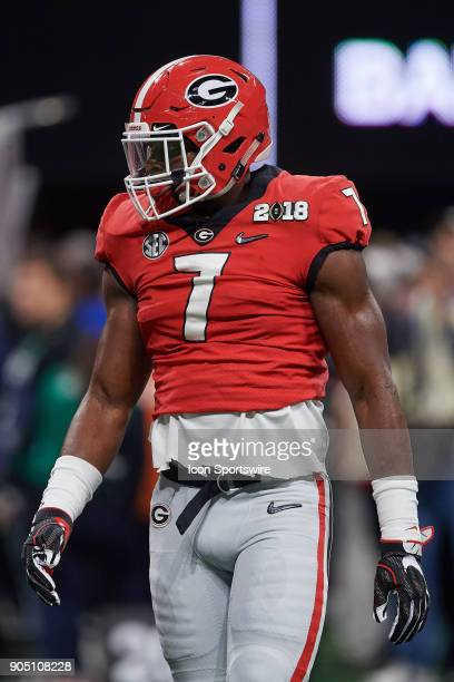 Georgia Bulldogs linebacker Lorenzo Carter looks on during the College Football Playoff National Championship Game between the Alabama Crimson Tide...