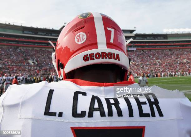 Georgia Bulldogs linebacker Lorenzo Carter on the field before the College Football Playoff Semifinal at the Rose Bowl Game between the Georgia...