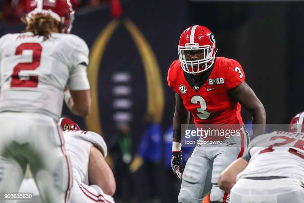 Georgia Bulldogs linebacker Roquan Smith lines up for a play during the College Football Playoff National Championship Game between the Alabama...