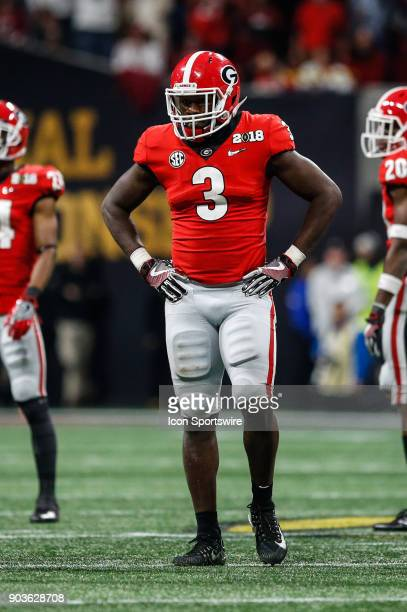 Georgia Bulldogs linebacker Roquan Smith looks on during the College Football Playoff National Championship Game between the Alabama Crimson Tide and...
