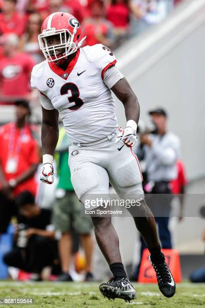 Georgia Bulldogs linebacker Roquan Smith looks on during the game between the Georgia Bulldogs and the Florida Gators on October 28 2017 at EverBank...