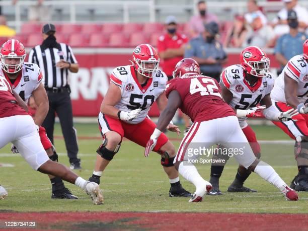 Georgia Bulldogs offensive lineman Warren Ericson pass blocks during the football game between the Arkansas Razorbacks and the Georgia Bulldogs on...