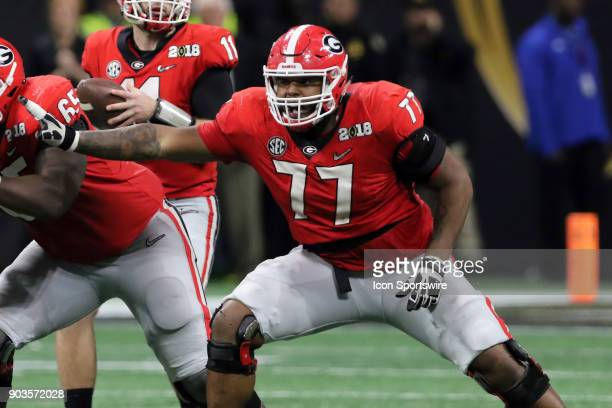 Georgia Bulldogs offensive tackle Isaiah Wynn during the College Football Playoff National Championship Game between the Alabama Crimson Tide and the...