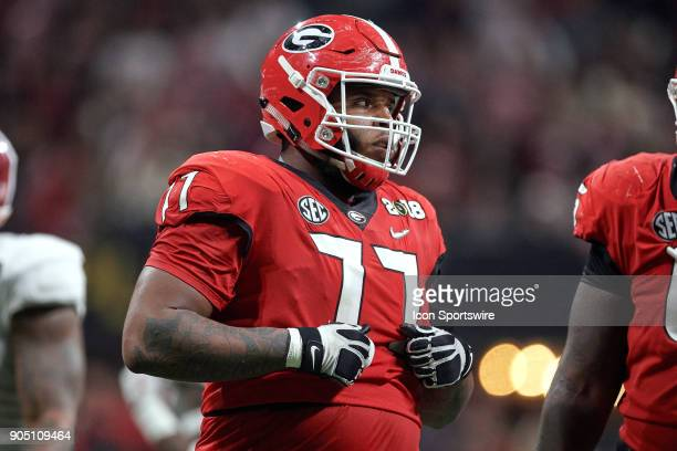 Georgia Bulldogs offensive tackle Isaiah Wynn looks on during the College Football Playoff National Championship Game between the Alabama Crimson...