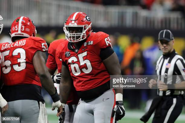 Georgia Bulldogs offensive tackle Kendall Baker during the College Football Playoff National Championship Game between the Alabama Crimson Tide and...