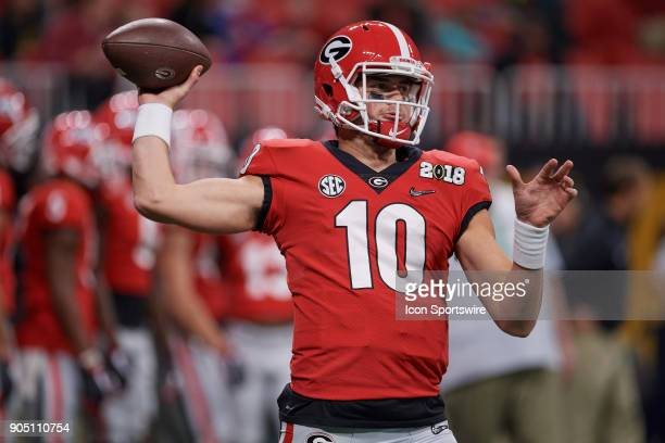 Georgia Bulldogs quarterback Jacob Eason warms up prior to the start of the College Football Playoff National Championship Game between the Alabama...