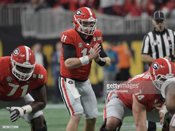 Georgia Bulldogs quarterback Jake Fromm calls the snap count during the College Football Playoff National Championship Game between the Alabama...