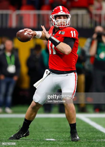 Georgia Bulldogs quarterback Jake Fromm drops back to pass during the College Football Playoff National Championship Game between the Alabama Crimson...