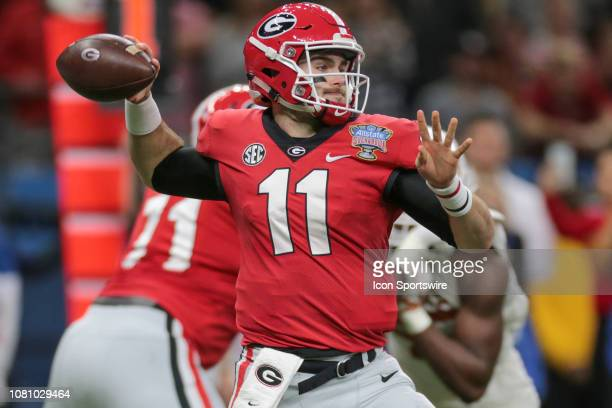 Georgia Bulldogs quarterback Jake Fromm passes during the Allstate Sugar Bowl game between the Georgia Bulldogs and the Texas Longhorns on January 1...