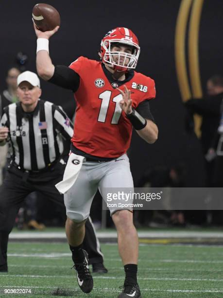 Georgia Bulldogs quarterback Jake Fromm passes the ball during the College Football Playoff National Championship Game between the Alabama Crimson...