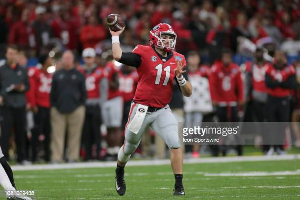 Georgia Bulldogs quarterback Jake Fromm throws a pass during the Allstate Sugar Bowl game between the Georgia Bulldogs and the Texas Longhorns on...
