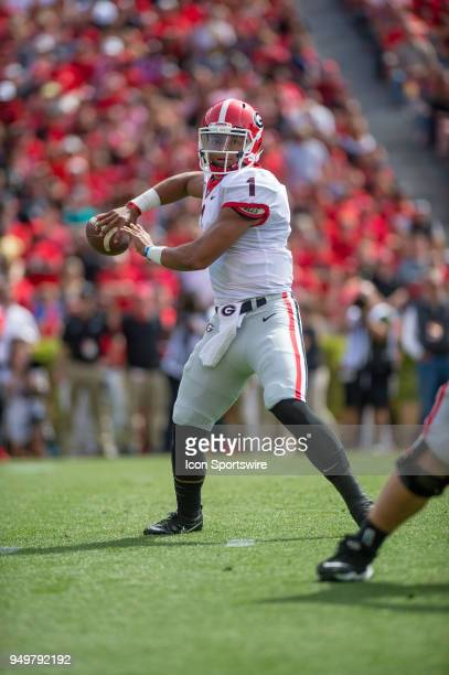 Georgia Bulldogs quarterback Justin Fields during the annual GDay Spring football game at Sanford Stadium in Athens Ga on April 21 2018