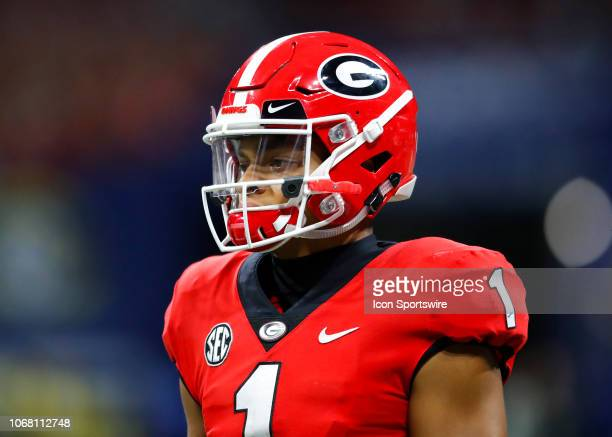Georgia Bulldogs quarterback Justin Fields during the SEC Championship game of the Georgia Bulldogs v Alabama Crimson Tide at MercedesBenz Stadium in...