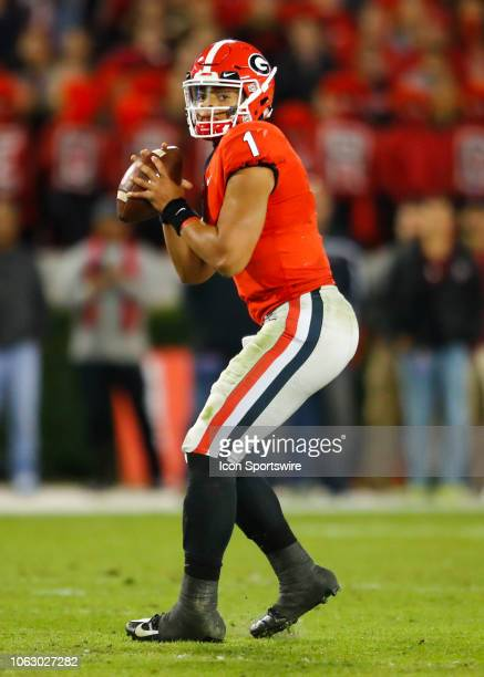 Georgia Bulldogs quarterback Justin Fields looks to pass during the Massachusetts Minutemen v Georgia Bulldogs game on November 17 2018 at Sanford...
