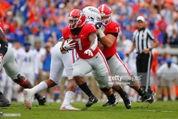 Georgia Bulldogs running back DAndre Swift runs with the ball during the game between the Florida Gators and the Georgia Bulldogs on October 27 2018...