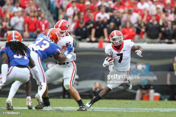 Georgia Bulldogs running back DAndre Swift runs with the ball during the game between the Georgia Bulldogs and the Florida Gators on November 2 2019...