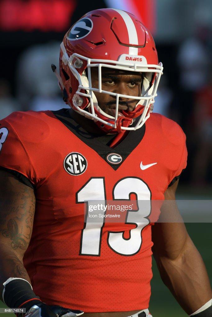 purchase cheap 229dd a8ec4 Georgia Bulldogs running back Elijah Holyfield during ...