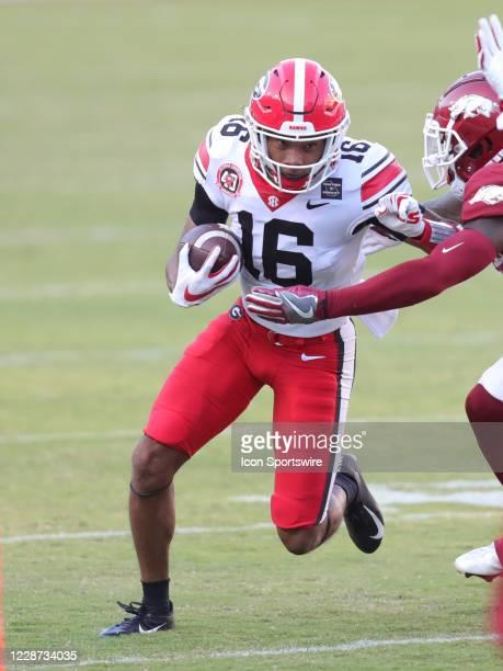Georgia Bulldogs wide receiver Demetris Robertson runs after a catch during the football game between the Arkansas Razorbacks and the Georgia...