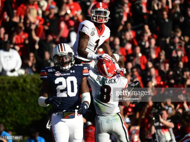 Georgia Bulldogs Wide Receiver Dominick Blaylock celebrates a touchdown reception with Georgia Bulldogs Wide Receiver George Pickens during the game...