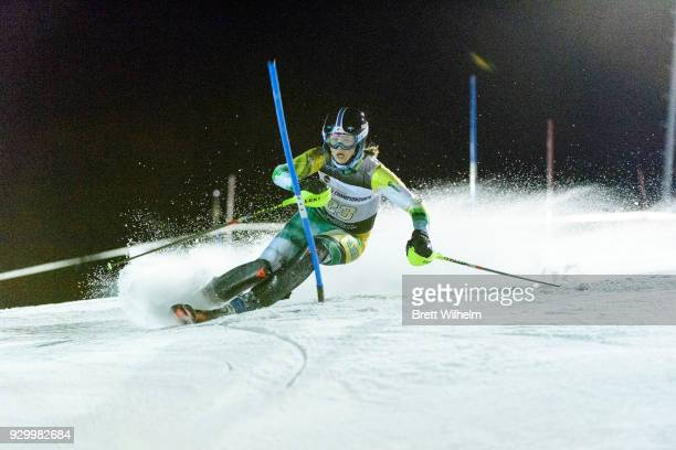 Georgia Burgess of the University of Alaska Anchorage competes in the Women's Slalom race during the Division I Men and Women's Skiing Championship...