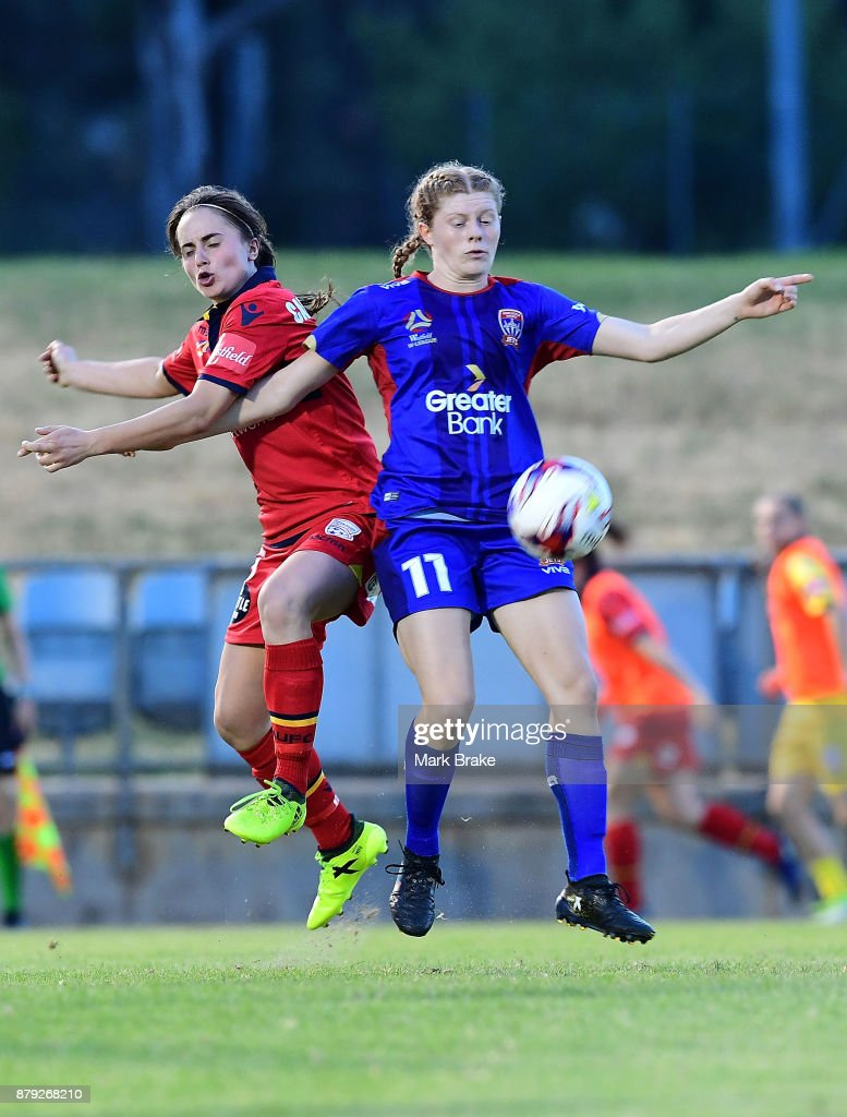 Georgia Campagnale of Adelaide United competes with Cortnee Vine of Newcastle Jets during the round five W-League match between Adelaide United and Newcastle Jets at Marden Sports Complex on November 25, 2017 in Adelaide, Australia.