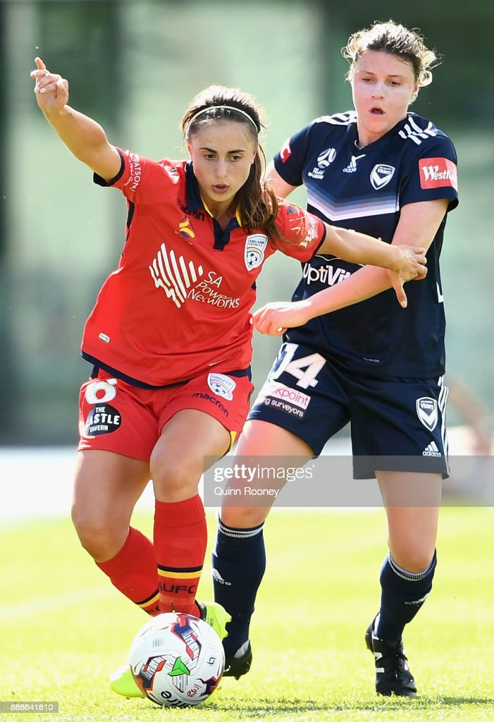 Georgia Campagnale of Adelaide United controls the ball infront of Melina Ayres of the Victory during the round seven W-League match between the Melbourne Victory and Adelaide United at Lakeside Stadium on December 9, 2017 in Melbourne, Australia.