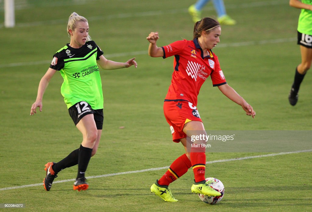 Georgia Campagnale of Adelaide United kicks the ball during the round 10 W-League match between Canberra United and Adelaide United at McKellar Park on January 7, 2018 in Canberra, Australia.