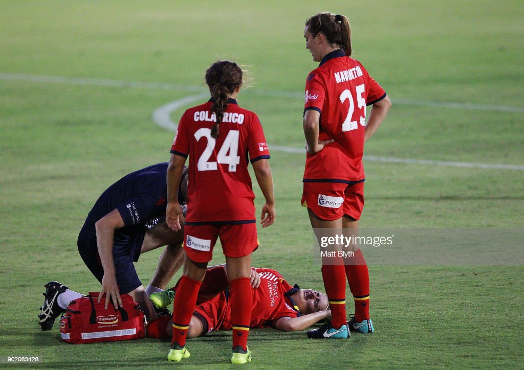 Georgia Campagnale of Adelaide United seeks medical attention during the round 10 W-League match between Canberra United and Adelaide United at McKellar Park on January 7, 2018 in Canberra, Australia.