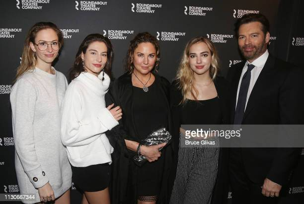 Georgia Connick Sarah Connick Jill Goodacre Connick Charlotte Connick and Harry Connick Jr pose at the opening night of The Roundabout Theatre...