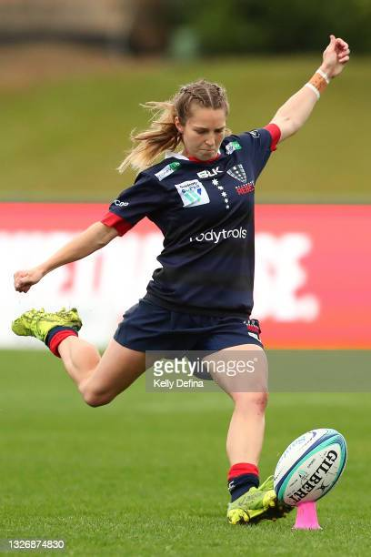 Georgia Cormick of the Rebels kicks the ball during the Super W match between the Melbourne Rebels and the ACT Brumbies at Coffs Harbour...