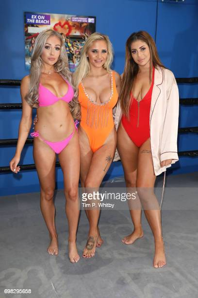 Georgia Crone Che McSorley and Chloe Ferry attend an Ex on the beach photocall to launch series 7 at the Fight City Gym on June 20 2017 in London...