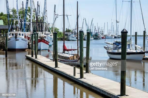 Georgia Darien waterfront commercial shrimping industry fleet at docks