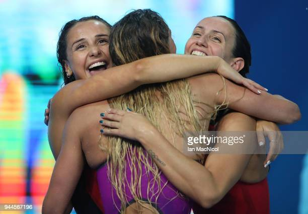 Georgia Davies Chloe Tutton and Alys Thomas of Wales celebrate bronze in the Women's 4 x 100m Medley Relay Final on day six of the Gold Coast 2018...
