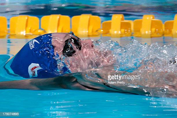 Georgia Davies of Great Britain competes during the Swimming Women's 50m Backstroke preliminaries heat six on day twelve of the 15th FINA World...