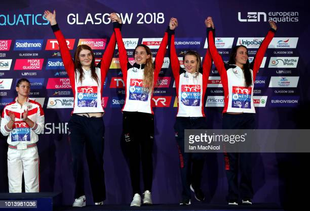 Georgia Davies SiobhanMarie O'Connor Alys Thomas and Freya Anderson of Great Britain celebrate bronze in the women's 4x100m medley relay final during...
